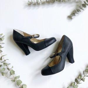 Seychelles Black Leather Mary Jane Heels✨